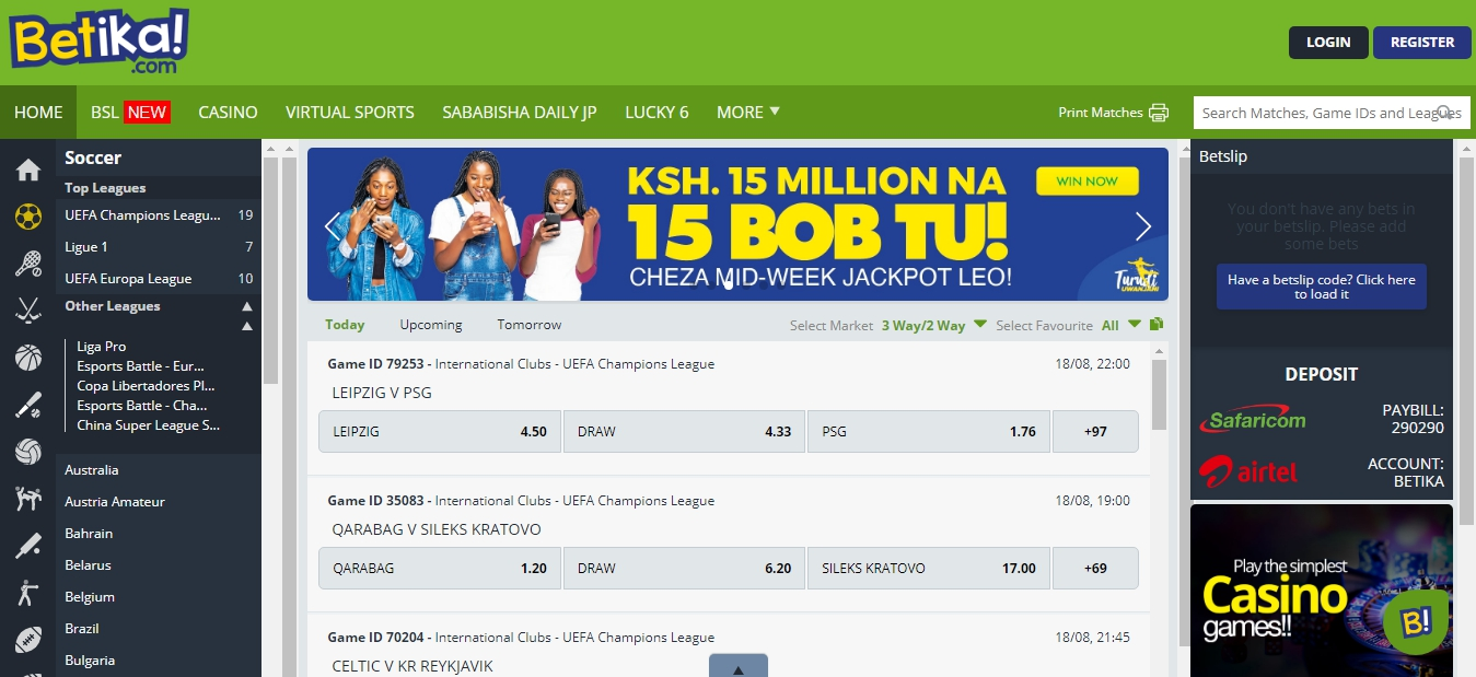 Betika site of bookmaker in Kenya