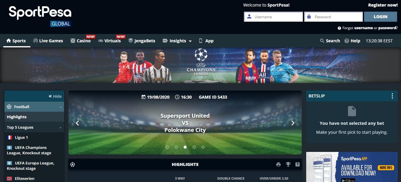 create an account SportPesa